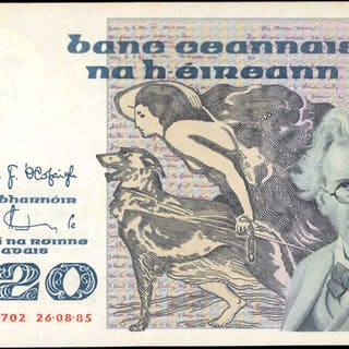 IRELAND, REPUBLIC. Central Bank of Ireland. 20 Pounds, 1985. P-73b.