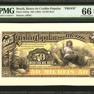BRAZIL. Banco de Credito Popular. 50 Mil Reis, ND (1892). P-S552p.