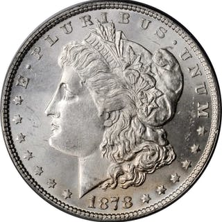 1878 Morgan Silver Dollar. 7 Tailfeathers. Reverse of 1878. MS-64 (PCGS).