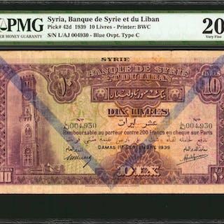 SYRIA. Banque de Syrie et du Liban. 10 Livres, 1939. P-42d. PMG Very Fine 20.
