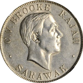 SARAWAK. 50 Cents, 1927-H. Heaton Mint. NGC AU-58.