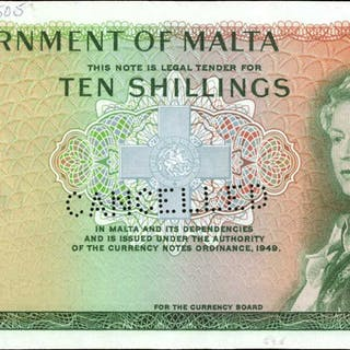 MALTA. Government of Malta. 10 Shillings, 1949. P-25s. About Uncirculated.