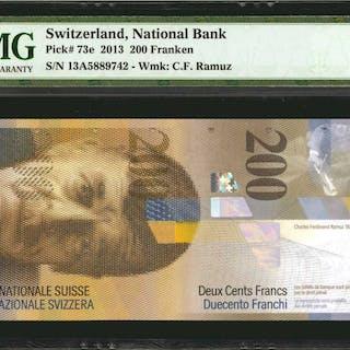 SWITZERLAND. National Bank of Switzerland. 200 Franken, 2013. P-73e.