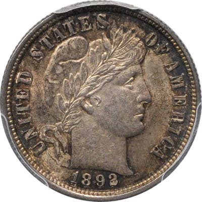 1892 Barber Dime. MS-62 (PCGS).