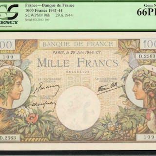 FRANCE. Banque de France. 1000 Francs, 1941-44. P-96b. PCGS Currency