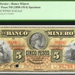 MEXICO. Banco Minero. 5 Pesos, ND (1898-1914). P-S163As3. Specimen.