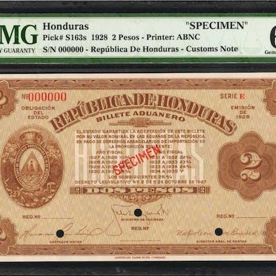 HONDURAS. Republica de Honduras. 2 Pesos, 1928. P-S163s. Specimen.