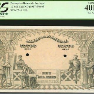 PORTUGAL. Banco de Portugal. 10 Mil Reis, ND. P-108p. Proof. PCGS
