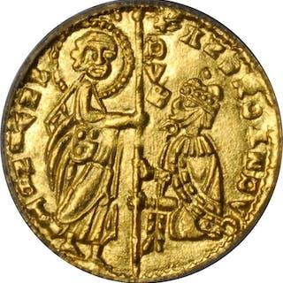 ITALY. Achaia. Zecchino, ND (1346-64). Roberto d'Angio-Tarente. PCGS MS-65.
