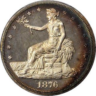 1876 Trade Dollar. Type I/II. Proof-66 Cameo (PCGS).