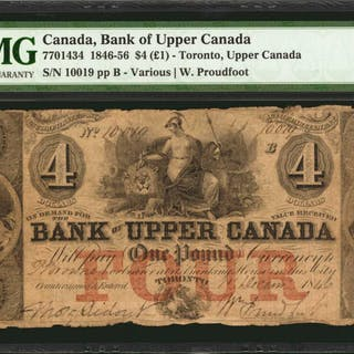 CANADA. Bank of Upper Canada. 4 Dollars (1 Pound), 1846. CH #7701434.