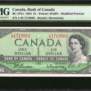 CANADA. Bank of Canada. 1 Dollar, 1957. BC-37b-1. Consecutive. PMG