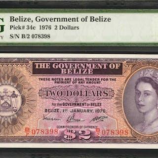 BELIZE. Government of Belize. 2 Dollars, 1976. P-34c. PMG Superb Gem