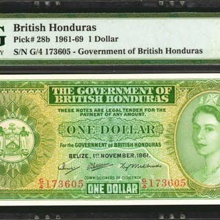 BRITISH HONDURAS. Government of British Honduras. 1 Dollar, 1961-69.