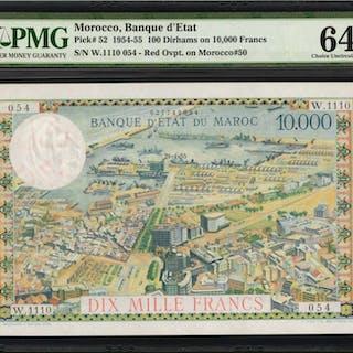 MOROCCO. Banque d'Etat du Maroc. 100 Dirhams on 10,000 Francs, 1954-55.