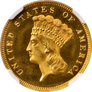 1876 Three-Dollar Gold Piece. JD-2. Rarity-6. Proof-67 Ultra Cameo (NGC).