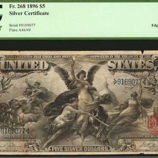 Fr. 268. 1896 $5  Silver Certificate. PCGS Currency Very Fine 20 Apparent.