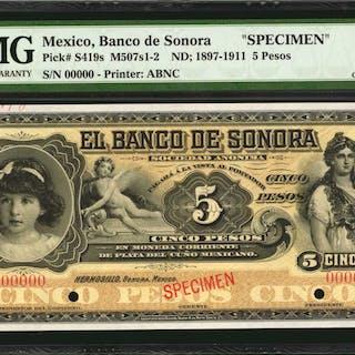 MEXICO. Banco de Sonora. 5 Pesos, ND; 1897-1911. P-S419s. Specimen.