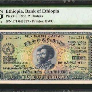 ETHIOPIA. Bank of Ethiopia. 2 Thalers, 1933. P-6. PMG Gem Uncirculated 65 EPQ.