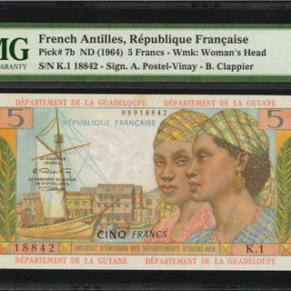 FRENCH ANTILLES. Republique Francaise. 5 Francs, ND (1964). P-7b.