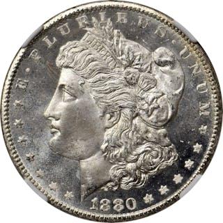 1880-CC Morgan Silver Dollar. VAM-5. Top 100 Variety. 8/High 7. MS-67+ (NGC).