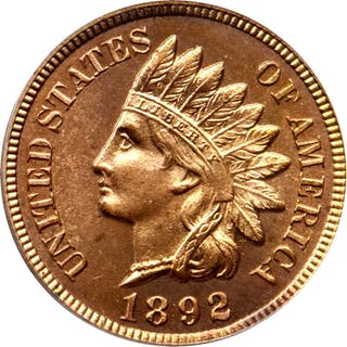 1892 Indian Cent. Snow-PR2. Proof-66 RD Cameo (PCGS). Eagle Eye Photo Seal.