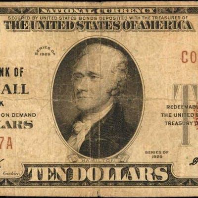 Whitehall, New York. 1929 Ty. 1 $10 Fr. 1801-1. The NB. Charter #8388. Fine.
