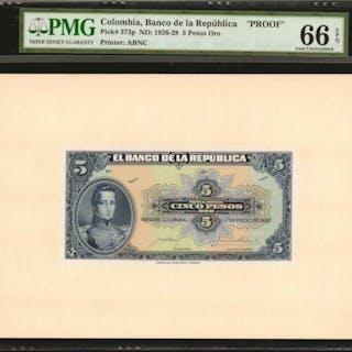 COLOMBIA. Banco de la Republica. 5 Pesos Oro, January 1, 1926. P-373p.