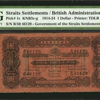 STRAITS SETTLEMENTS. British Administration. 1 Dollar, 1914-24. P-1c.