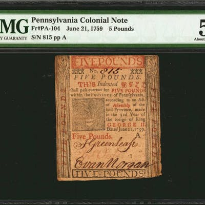 PA-104. Pennsylvania. June 21, 1759. 5 Pounds. PMG About Uncirculated 50.