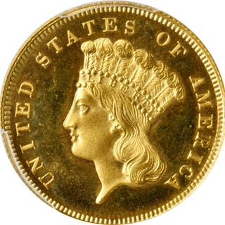 1862 Three-Dollar Gold Piece. JD-1, the only known dies. Rarity-6+.