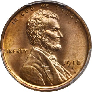 1918-D Lincoln Cent. MS-66 RD (PCGS).