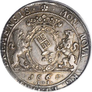 GERMANY. Bremen. Taler, 1660-TI. PCGS AU-55 Gold Shield.