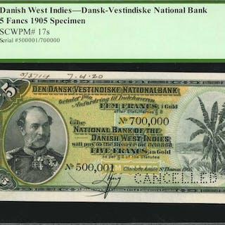 DANISH WEST INDIES. Dansk Vestindiske National Bank. 5 Francs, 1905.