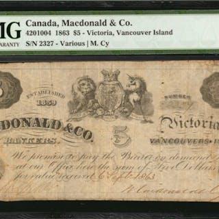 CANADA. Macdonald & Co. 5 Dollars, 1863. CH #4201004. PMG Fine 12.