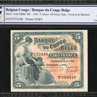 BELGIAN CONGO. Banque du Congo Belge. 5 Francs, 1943. P-13Ab. PCGS