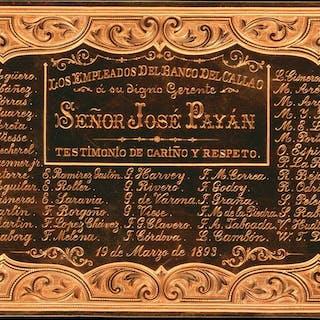 PERU. Los Empleados del Banco del Callao. 4.6 oz (143.10 gms) Solid