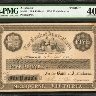 AUSTRALIA. Bank of Australasia. 5 Pounds, 1874. P-Unlisted. Proof.