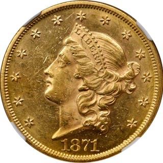 1871 Liberty Head Double Eagle. MS-61 (NGC).