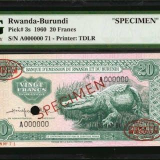RWANDA-BURUNDI. Banque d'Emission du Rwantda et du Burundi. 20 Francs