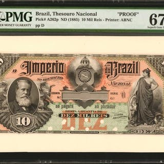 BRAZIL. Thesouro Nacional. 10 Mil Reis, ND (1885). P-A262p. Proof.