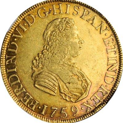 PERU. 8 Escudos, 1759-LM JM. Lima Mint. Ferdinand VI. NGC AU-53.
