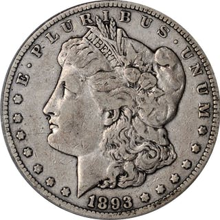 1893-CC Morgan Silver Dollar. VF-20 (PCGS). CAC.