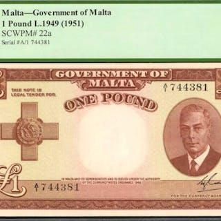 MALTA. Government of Malta. 1 Pound, 1949 (1951). P-22a. PCGS Currency