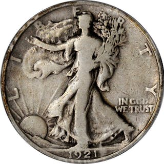 1921 Walking Liberty Half Dollar. Fine-12 (ANACS).
