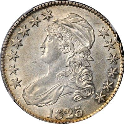 1825 Capped Bust Half Dollar. O-110. Rarity-2. AU Details--Rim Damage (NGC).