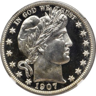 1907 Barber Half Dollar. Proof-68 Cameo (NGC).