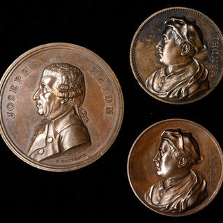 GREAT BRITAIN. Music-Themed Bronze Medal Trio (3 Pieces). 1800-1857.