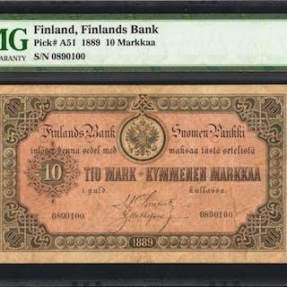 FINLAND. Finlands Bank. 10 Markkaa, 1889. P-A51. PMG Very Fine 30.