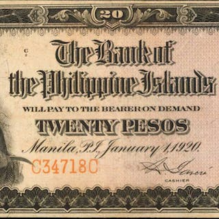 PHILIPPINES. Bank of the Philippine Islands. 100 Pesos, 1928. P-20. Very Fine.